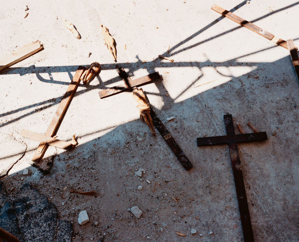 Crucifixes held by protestors during police raid on the Genoa Social Forum, 22 July 2001