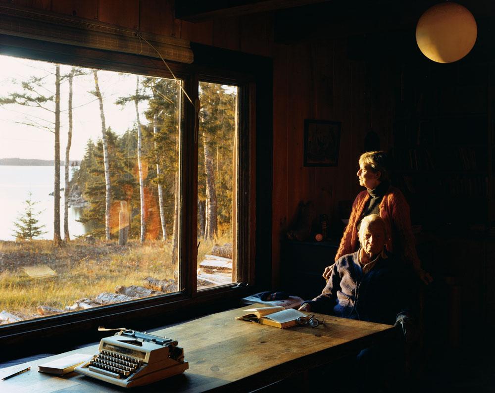 Scott and Helen Nearing at Forest Farm, Harborside, Maine, October 1982.