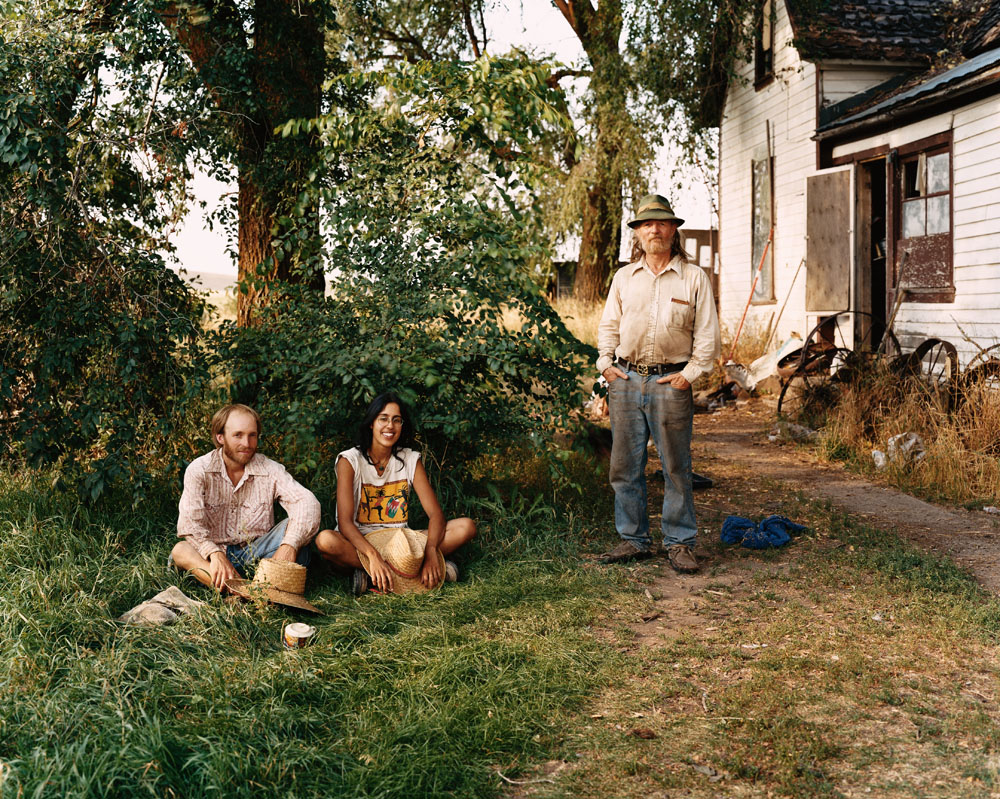 """Jyoti Kokri-Bhatt and Seth Williams at Appel Farm Restoration Project, a commune in formation,  with Huw """"Piper"""" Wiliams, founder of Tolstoy Farm, Edwall, Washington, August, 2004."""