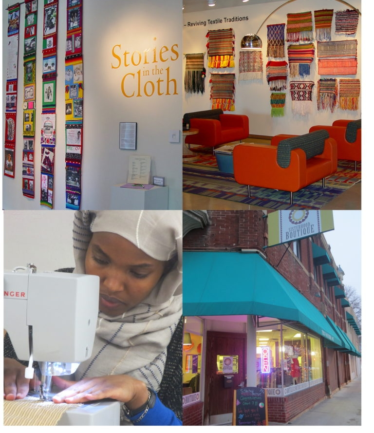"Top row: ""Stories in Cloth"" at the Textile Center of Minneapolis. ""From Somalia to Minnesota--Reviving Textile Traditions"" at the McKnight Foundation.    Bottom row: Sewing classes at the Sisterhood of the Traveling Scarf in the Cedar Riverside neighborhood of Minneapolis, MN."