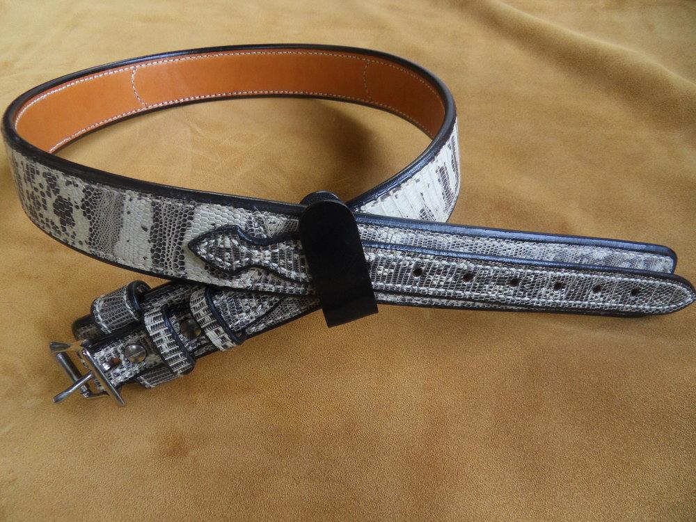 """9184 - 1 3/4"""" Ranger Belt, Tegu Lizard, 38"""" Waist, $450.00"""