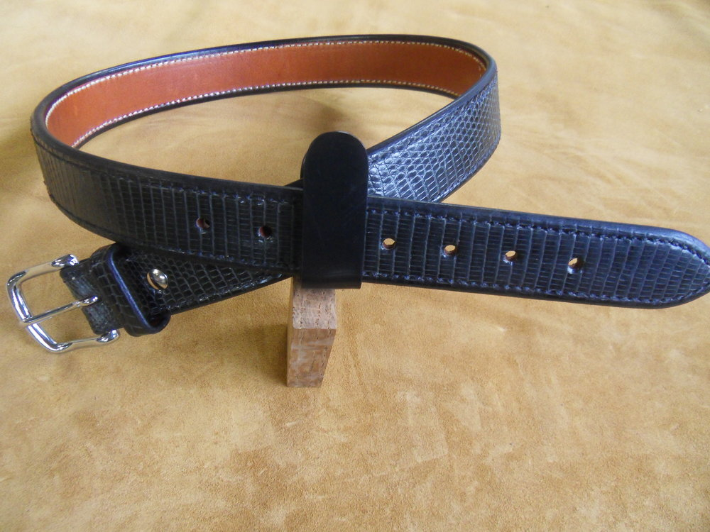 "9206 - 1 1/2"" Black Monitor Lizard, 34"" Waist, $300.00"