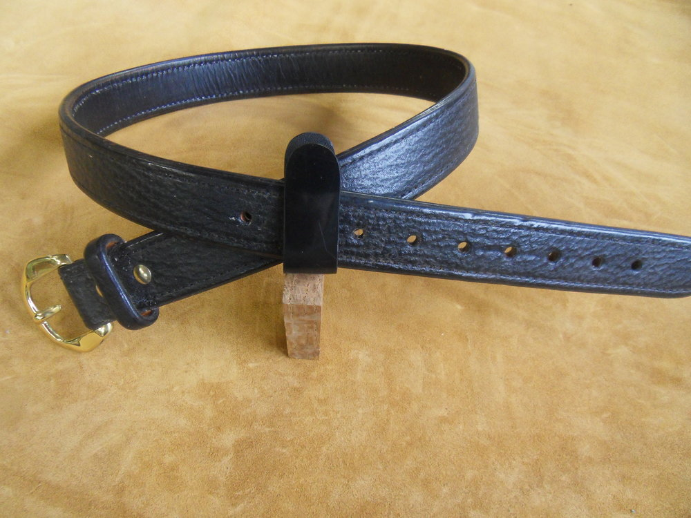 "9208 - 1 1/2"" Black Tigershark, 35"" Waist, $300.00"
