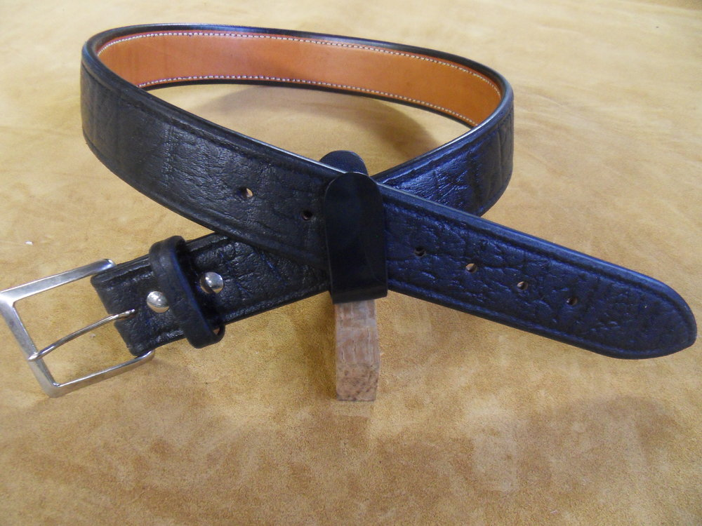 "9225 - 1 3/4"" Black Cape Buffalo, 33"" Waist, $250.00"