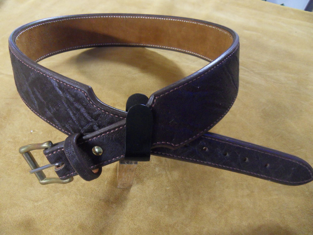 "9236 - 1 1/2"" x 2 1/2"" Taper Belt, Brown Elephant, 41"" Center Hole, $500.00"