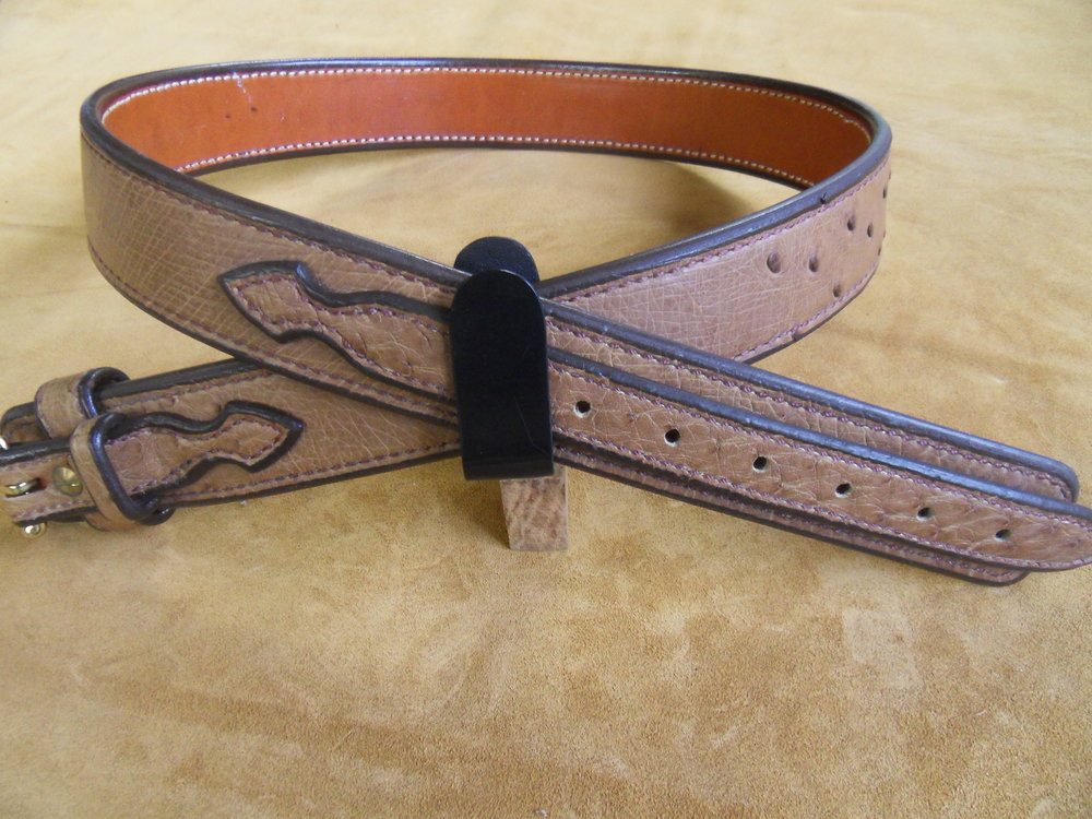 "9216 - 1 3/4"" Tan Quilled Ostrich Ranger Belt, 39"" Waist, $500.00"