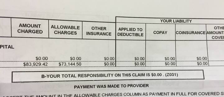 My actual medical bill from December of 2015.