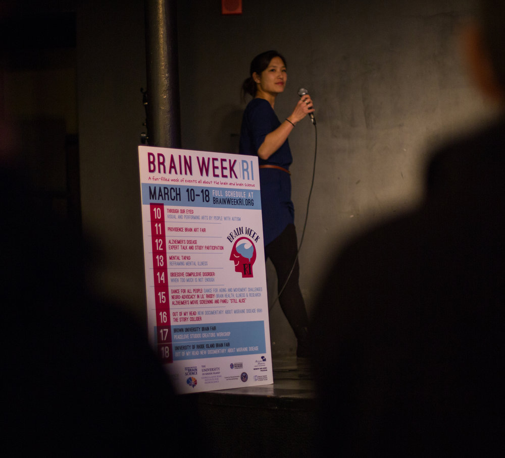 Hosting a Story Collider show for Brain Week in Providence, Rhode Island. March 2018.