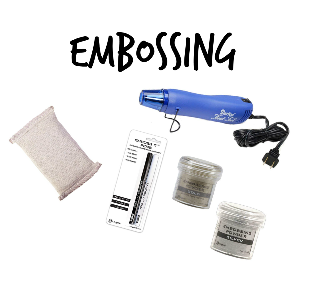 """- Embossing is so much fun! I've included some embossing items including my heat gun and a """"magic pillow"""" that prevents stray embossing powder. I wouldn't even try embossing without that pillow! I like the Ranger embossing powder and have best luck with the super fine types. You can use this on ceramic, wood, ornaments, paper…with best success on smooth and glossy surfaces."""