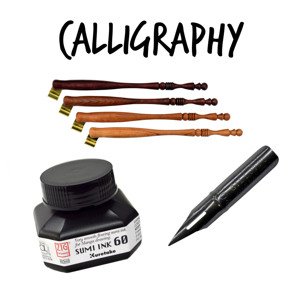 """- Paper and Ink Arts (referral link) is where I go for all of my calligraphy supplies. I like the Gillott 404 nibs best and Turned Wood or Turn of the Century oblique pens. I like SUMI black ink, but have added a thickening agent for certain papers to avoid """"feathering."""" I can't work without my SliderWriter, but these tend to be sold out! I originally took an online calligraphy class from Melissa Esplin that can be found at www.calligraphy.org! She has priceless bits of information like that you have to burn off a protective oil on the nibs before starting!"""