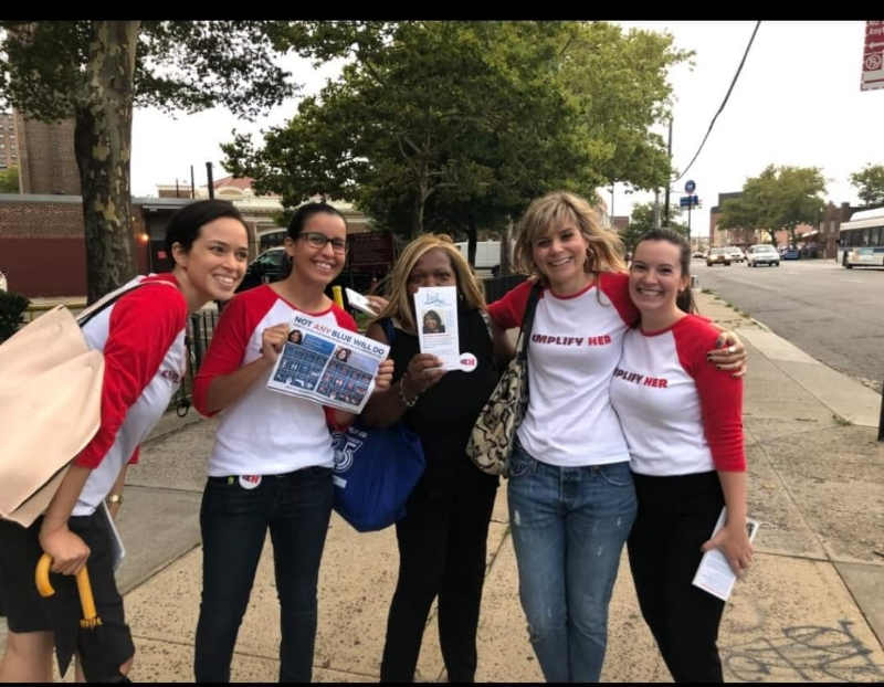 Canvasing Brooklyn with Amplify Her Volunteers -
