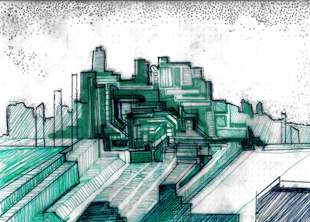 """drawing by Kate Sharkey  """"emerald city"""""""