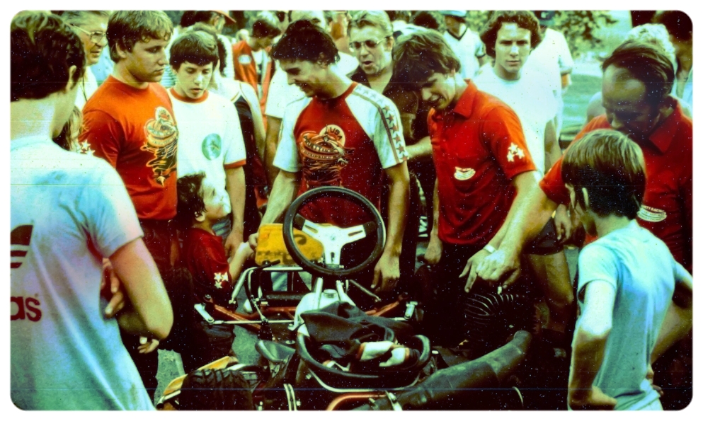 South Park Legend Scott Pruett accepts congratulations from Jimmy Mann Jr after winning the 1982 PKA 100cc Pro Open event.