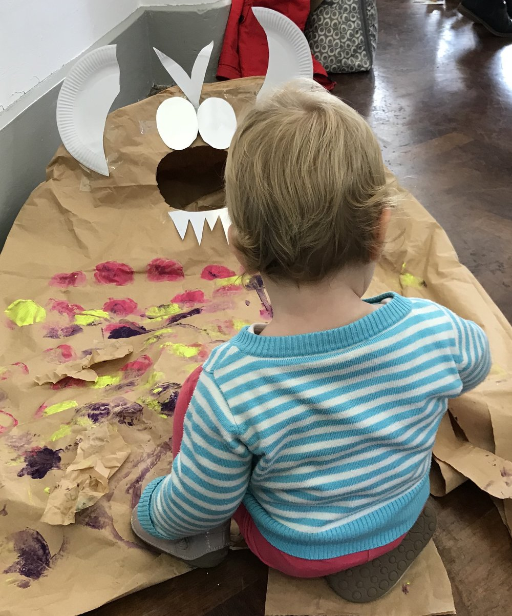 "A participant at The Colour Club's ""The Gruffalo"" workshop this autumn"