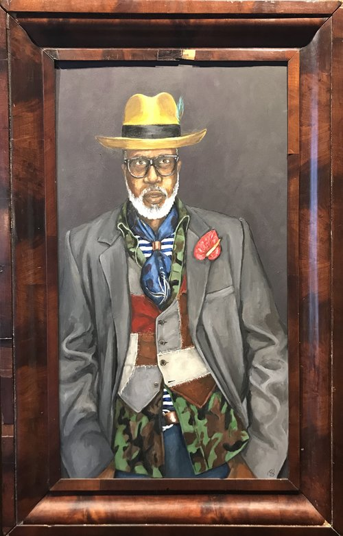 Bricolage  20.5 x 36.25  acrylic on wood, antique frame