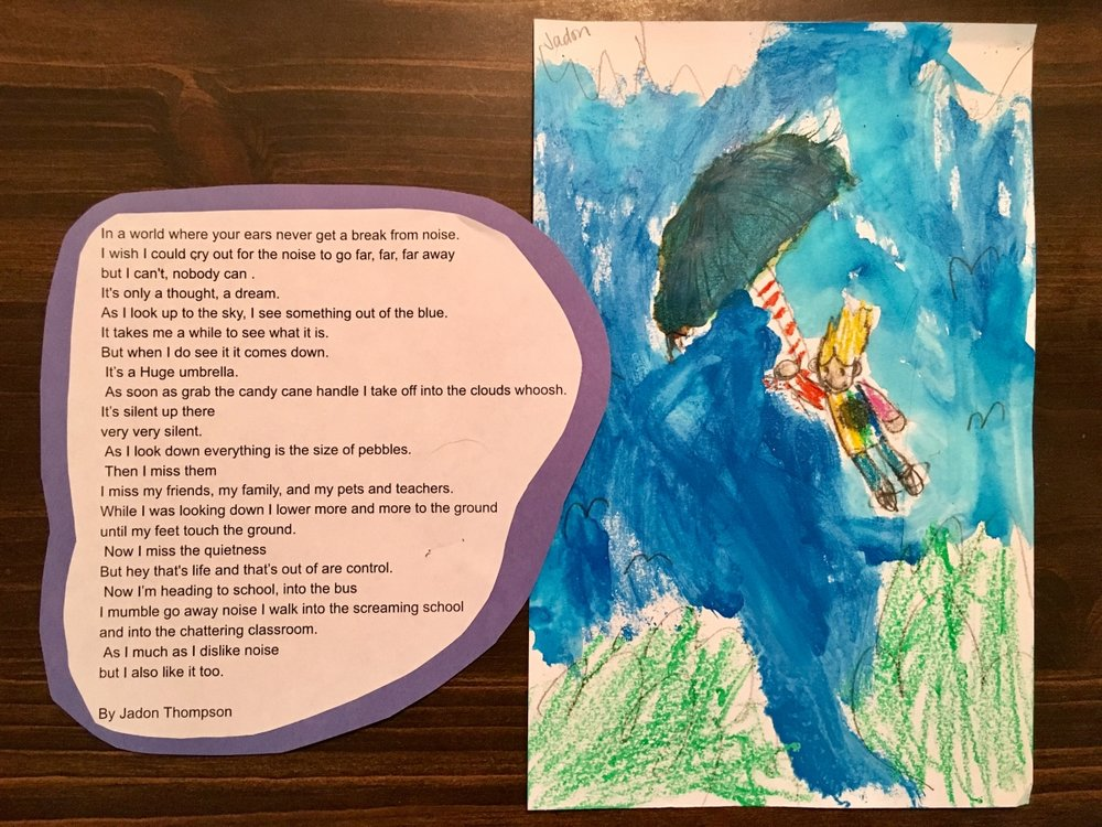 """Jadon wrote this poem so that his classmates and teacher can """"understand what it's like to have autism and how noises hurt his ears."""""""