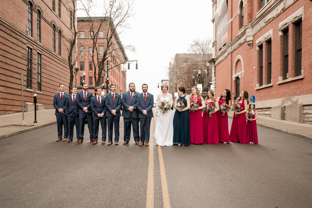 Downtown Bridal Party field photo louisville photographer
