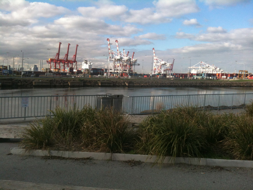 Melbourne Ports from Bay Trail West.