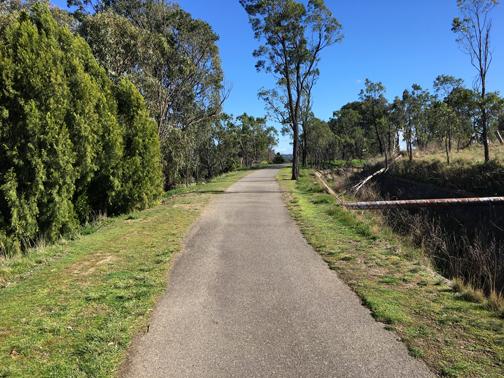 Alongside the aqueduct.