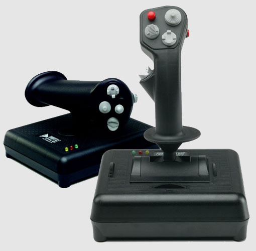 CH Products Fighterstick and Pro Throttle, in all their matte black glory.