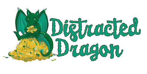 I make custom pinback buttons, keychains, magnets and drink coasters! Distracted Dragon logo design by  Steph Skiles !