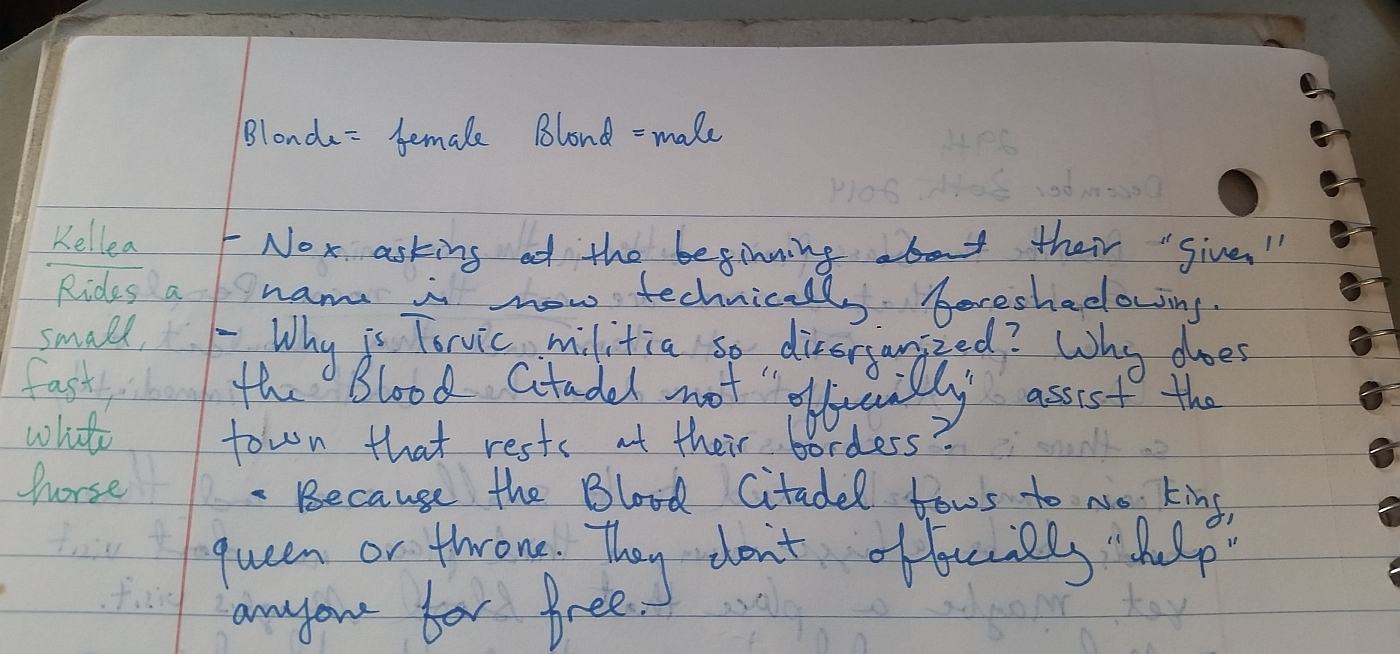 Notes for The Trials of Blood, December 29th 2014