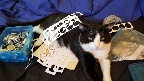 "Boo ""helping"" me make buttons for the launch."