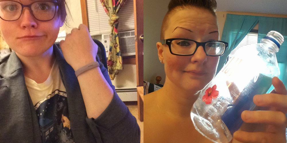 Circa July 2017: Steph shows off that she caved and finally bought a FitBit, and I'm showing off an empty water bottle (because I hate water). Together we've struggled with the inexplicable weight-gain of our 30s and an inability to stay motivated.