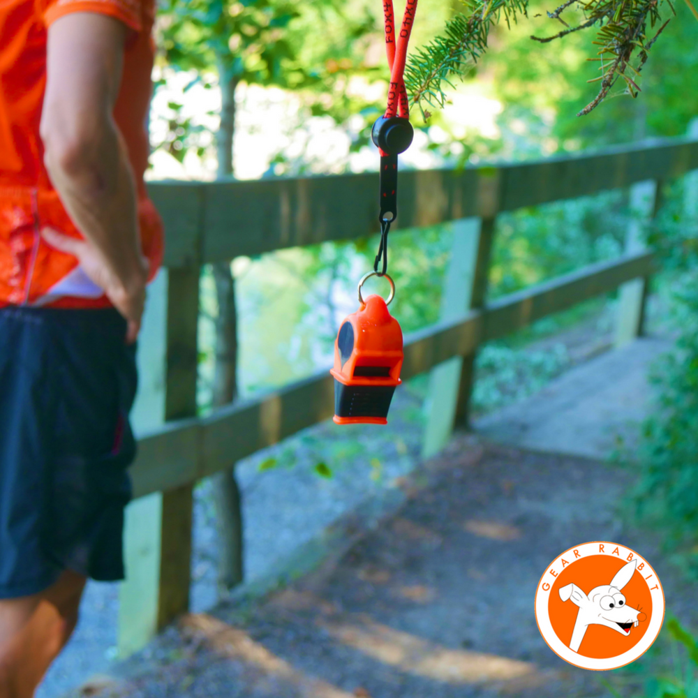 Gear Rabbit reviews the Fox40 Sonik Blast  Hey fellow trail runners, check out this whistle. Wow, it's loud!!!😆👂💥 The model is the Fox 40 Sonik Blast. It doesn't matter if you're in howling winds or torrential rains, you can distinctly hear it a mile away!! They have a wrist band if you want quick access on the fly. It's pealess and sealed, so it handles getting soaked. This is definitely the best whistle on the market. Play safe & have a blast out there!!😀🐰