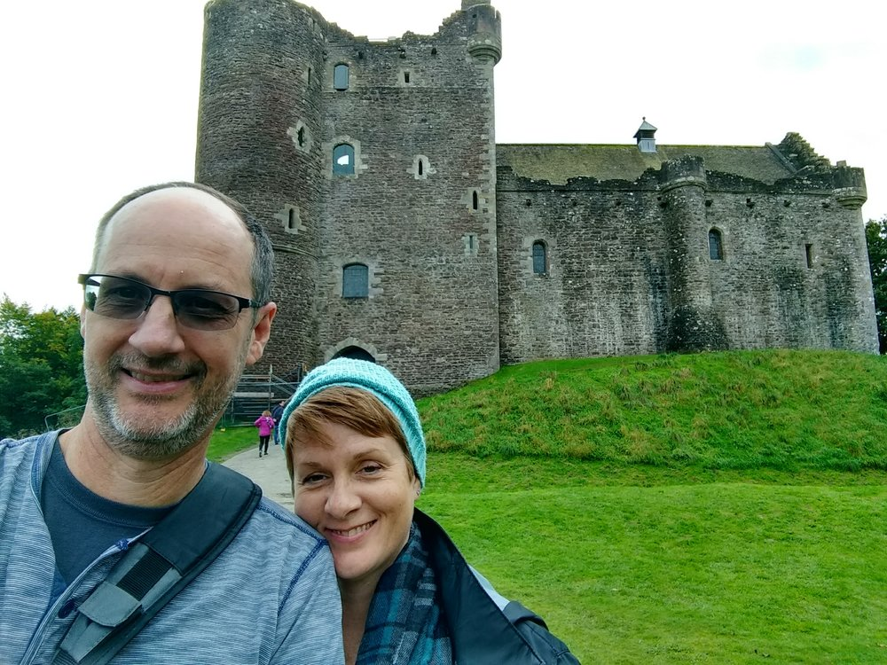 Doune Castle, where you're sure that livestock will come flying over the walls any second