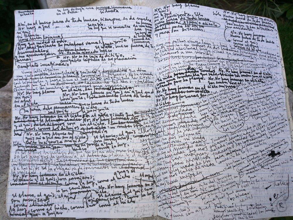Roberto親自拍攝自己的筆記摘影,傳給本文作者,可見密集式書寫的西班牙文。