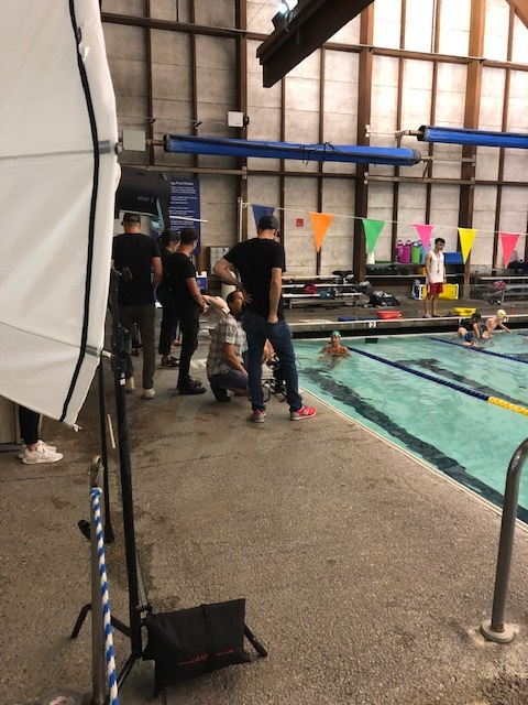 1st shot of the day, in a swimming pool