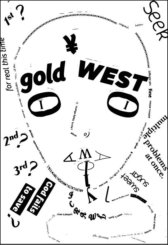 Gold West I - A self portrait project in which I depicted an image of a snake in resemblance of my self. I picked snake because a serpent is symbolic in the biblical story.