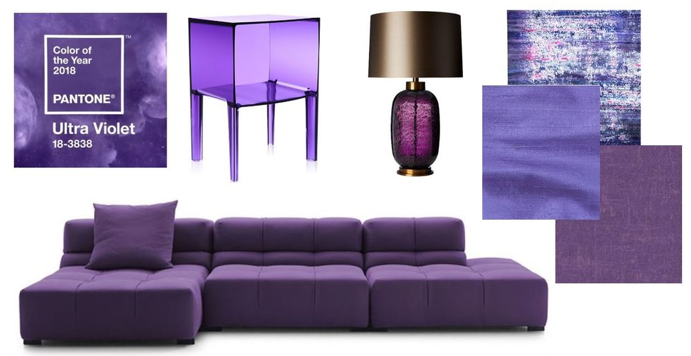 From left clockwise: Kartell Ghost Buster Night Stand; Zoffany Table Lamp; James Hare Orissa Silk Iris; Start Fresco Silk Carpet; Casamance Lully Violet Wallpaper; Tufty-Time '15 Sofa with Chaise, Chaplins