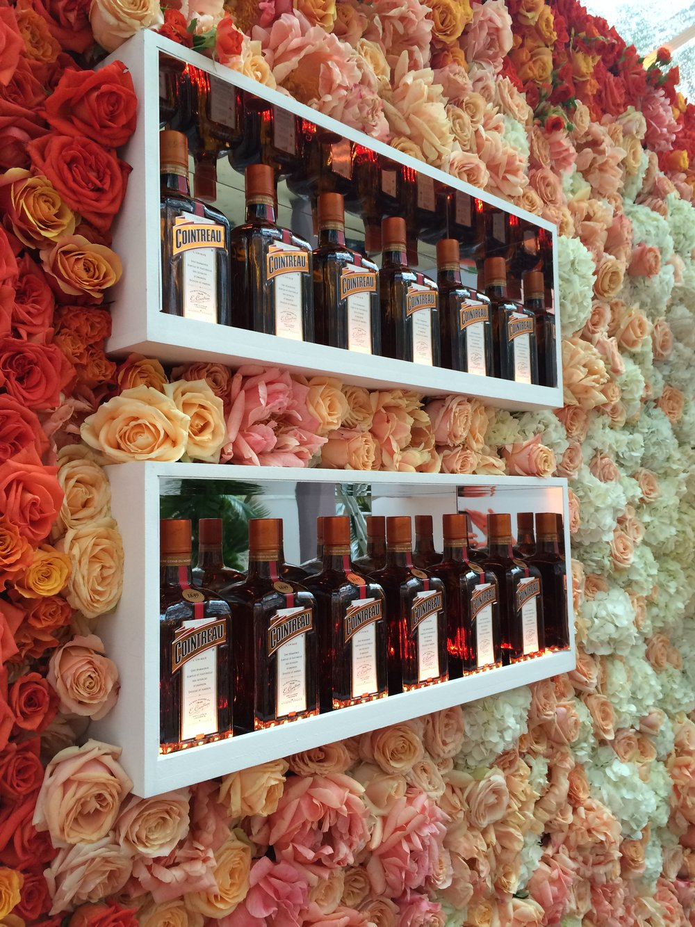 Flower and Cointreau Wall Installation Created by Veevers Carter for the Glamour Awards June 2016