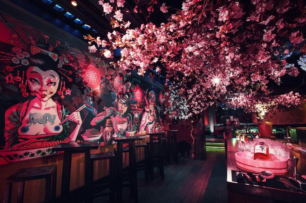 Cherry Blossom Installation at ROKA London Styled by Veevers Carter