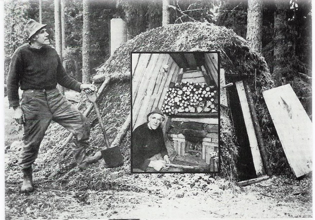 Sven Råberg (1913 - 2006), a charcoal worker in Skinnskatteberg. He took the initiative to build Kolarbyn Ecolodge in 1997. The picture above is taken somewhere else.