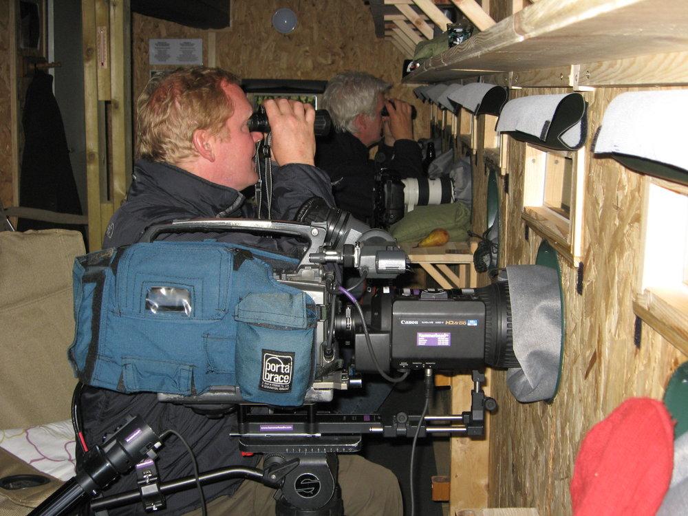Filming from inside the photo hide. Photo: Håkan Vargas