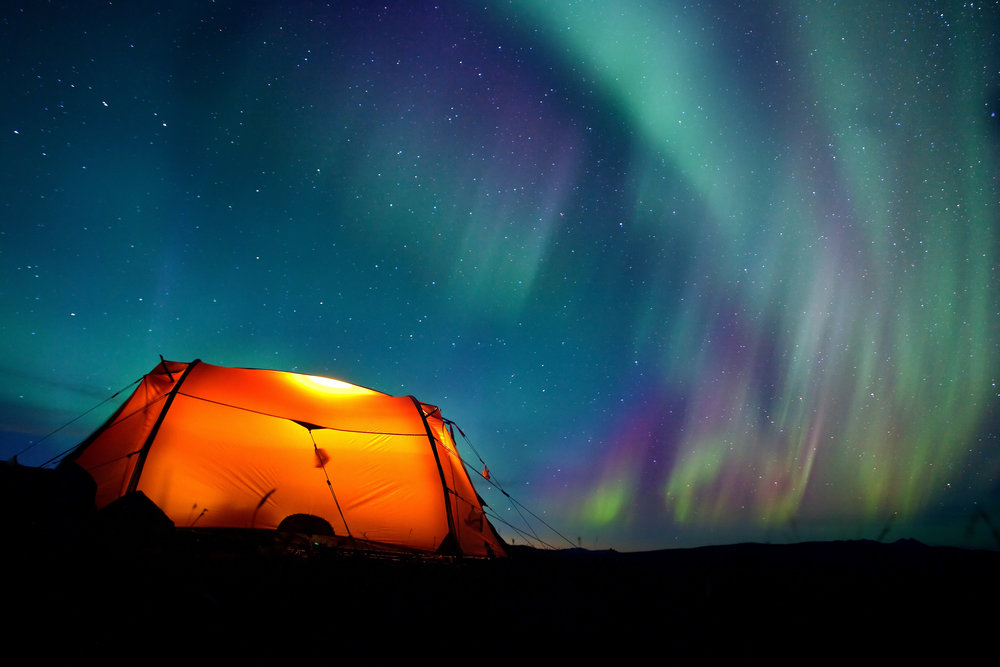 Northern lights over tent in Sarek National Park. Photo: Jens Ottosson