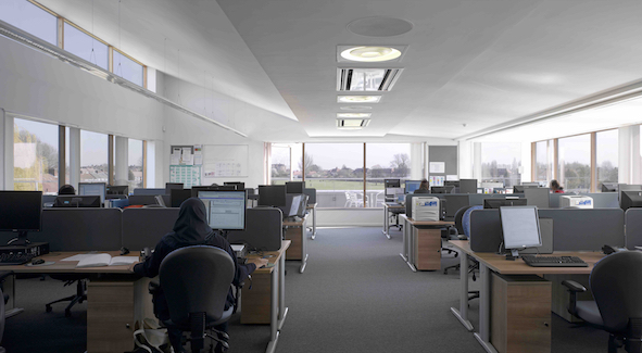Ellen Wilkinson School for Girls - This new purpose built library resource centre (LRC) and six classrooms supports a wide range of teaching, learning and study models. As well as quiet areas, there are also areas for discussion, group study and social interaction. The building services design includes an energy efficient ground source heat pump and a hybrid high efficiency heat recovery ventilation system that works together with a natural ventilation design.