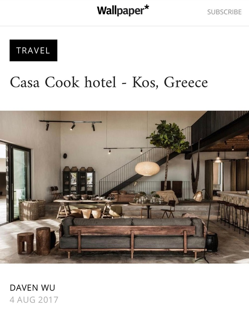 CASA COOK KOS    WALLPEPER MAGAZINE / AUG 2017