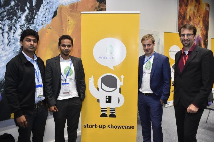 From left: Md Bayzidul Islam (FabSpace, TU Darmstadt), Riazuddin Kawsar (CEO, Spacenus GmbH), Lionel Born (CSO, Spacenus GmbH), Sascha Heising (FabSpace, cesah Gmbh) (Image source: SAP Digital Leaders' Summit 2016)