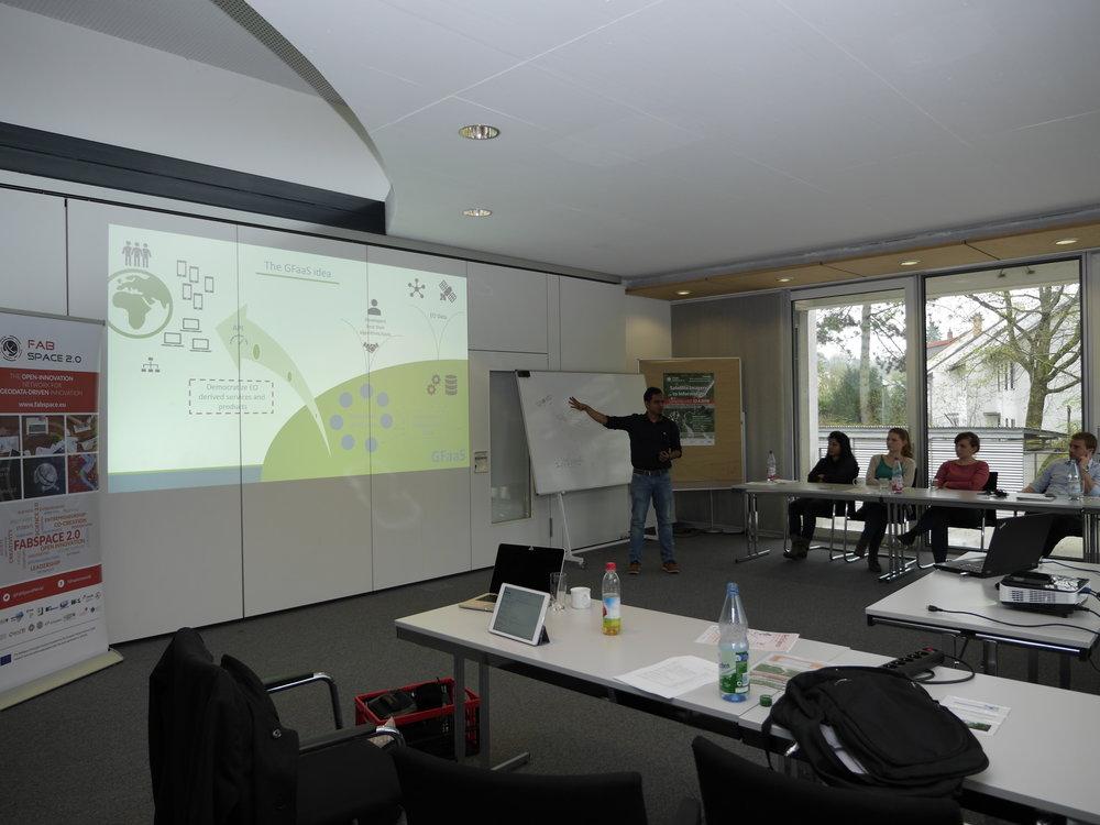 Riazuddin Kawsar (CEO, Spacenus GmbH) gives a short introduction about GFaaS (Photo source: FabSpace 2.0)