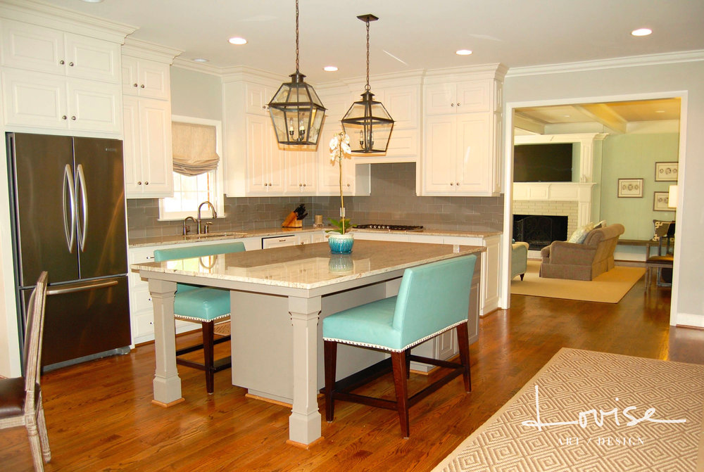 Family kitchen with custom aqua banquettes and lanterns