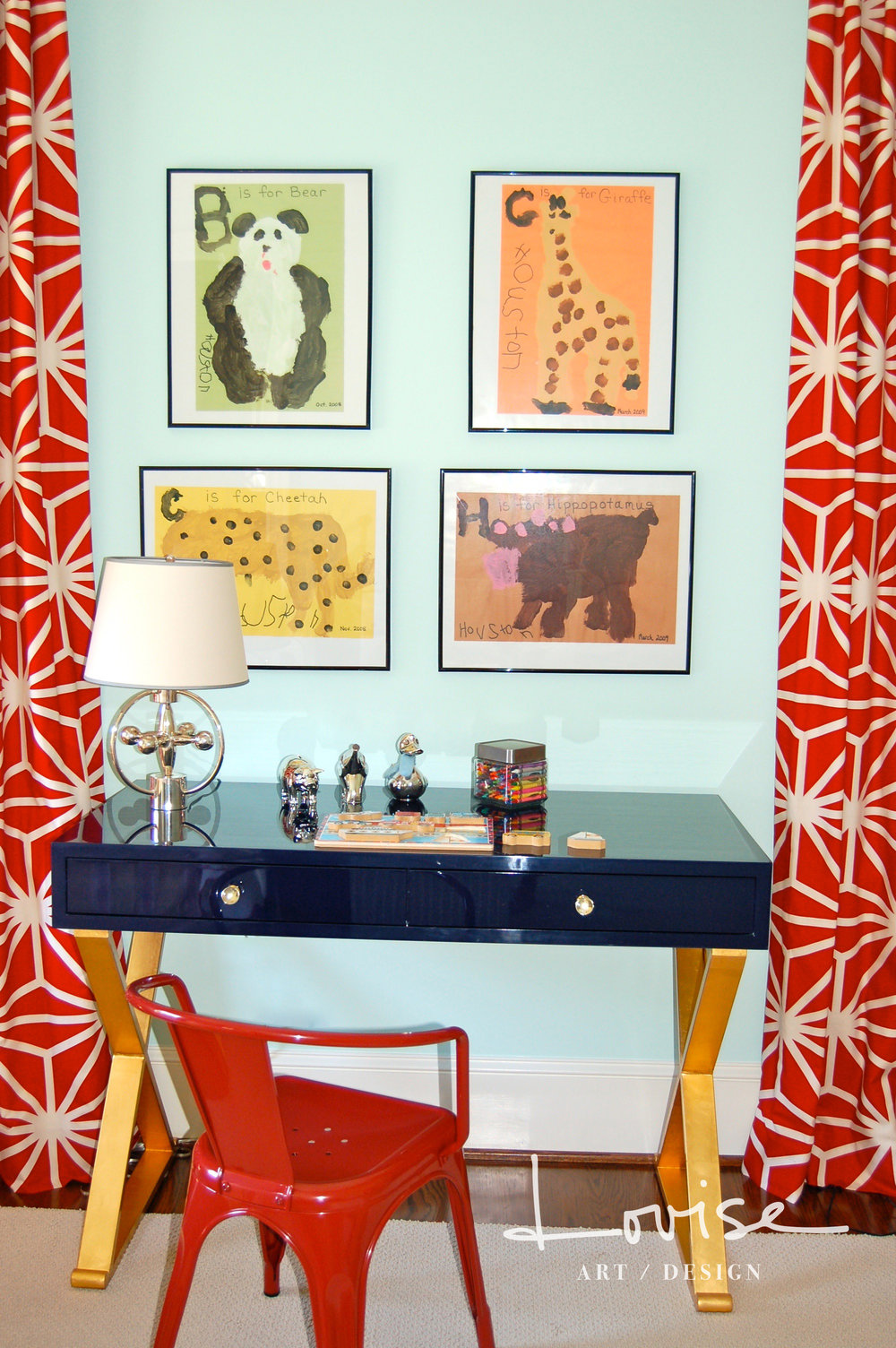 Navy and gold leaf lacquered desk with red draperies and chair