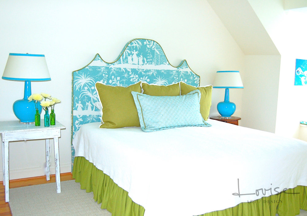 Lake bedroom with custom chinoiserie headboard, shams and bedding