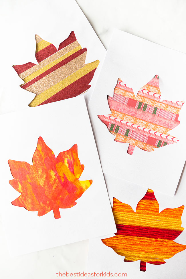 "Kids of all ages can use their strengths to decorate a paper with paint, yarn, washi tape or glitter.  The Best Ideas for Kids  gives great tips and ideas on making these simple leaf silhouettes. I hope to use these as the fronts to ""thank you"" cards that my kids will write to our extended family for our Thanksgiving dinner."