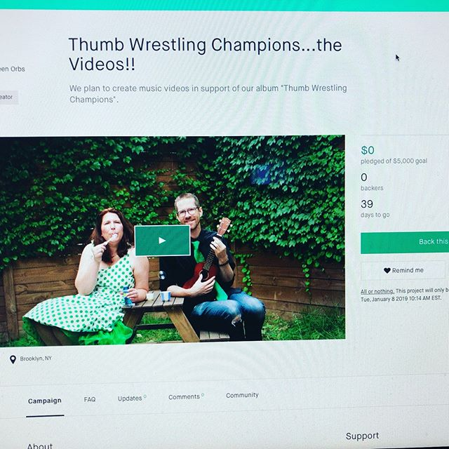 It's a go for launch!!! Today we are calling it THUMB WRESTLING THURSDAY as we officially launch a #kickstartercampaign in order to support the making of videos for songs from our album THUMB WRESTLING CHAMPIONS! Please click the link in our bio for more information on how you can help and what rewards we are excited to give you in exchange for your generosity. #musicforfamilies #kidsmusicians #kidsmusician #musicforkids #kickstarter #independentartist #momsofinstagram #dadsofinstagram #thumbwrestling