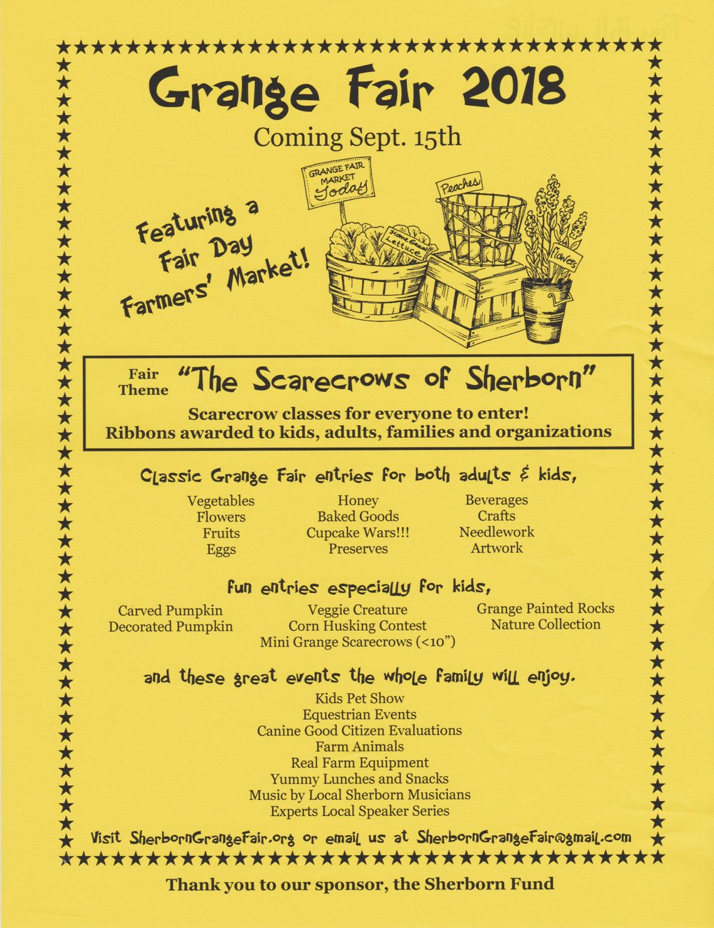 So many fun entry categories! - Looking forward to a great Fair Day with classed entries to view, local musicians, an all-day speaker line up, hayrides, demonstrations, farm animals, displays by local farmers, a farmer's market - and more!!