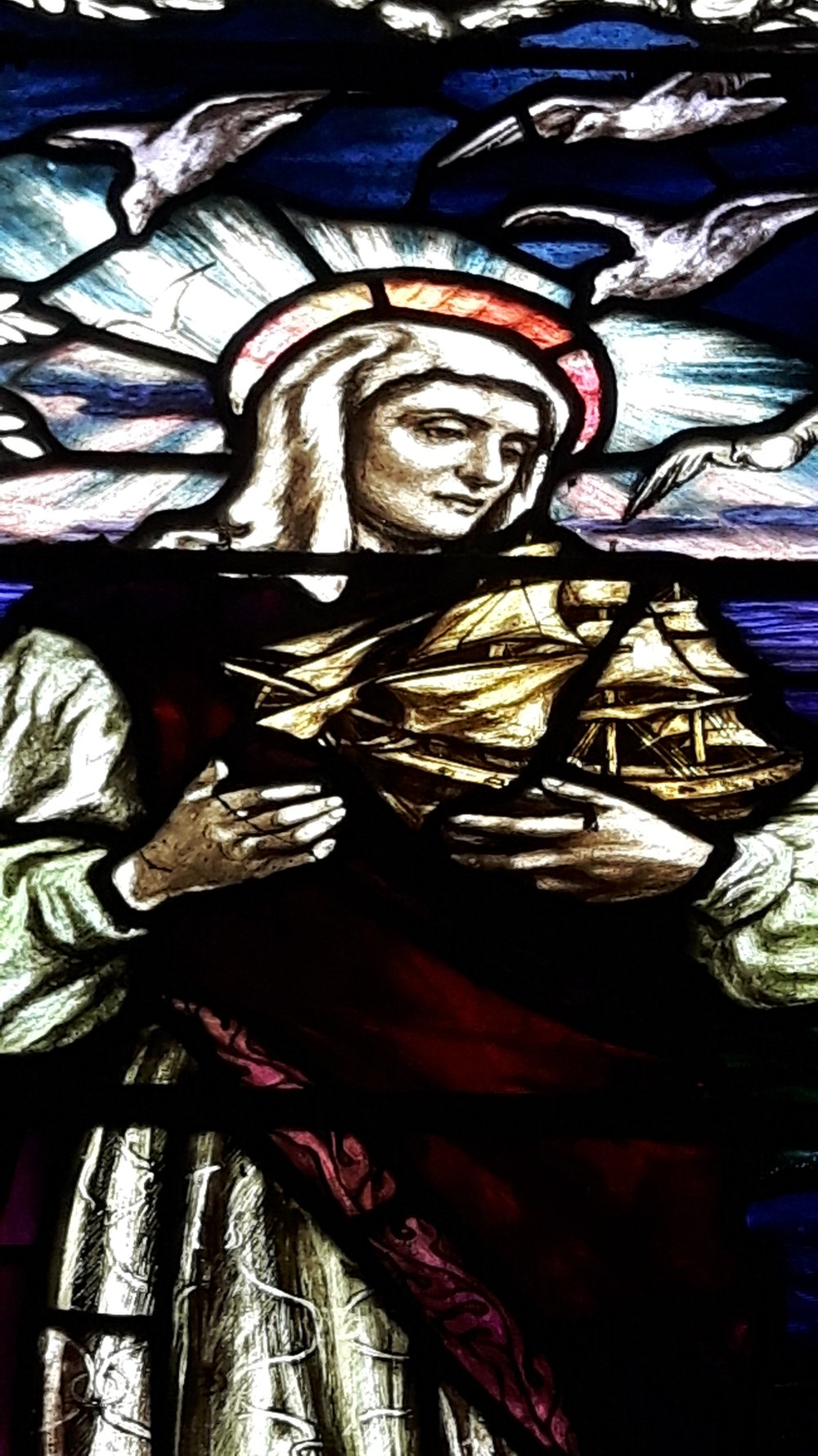 Detail of stained glass panel by Mary Lowndes, St Ann's Chapel, Saunton